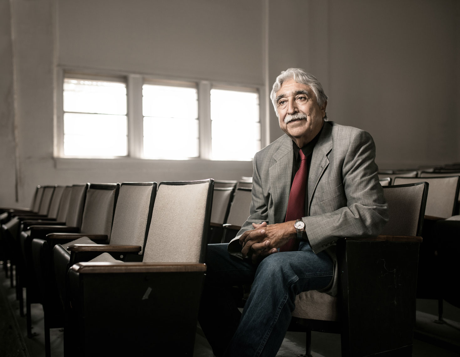 Alfredo Zamora sits for a portrait for Texas Monthly, photographed by local editorial and portrait photographer Josh Huskin.