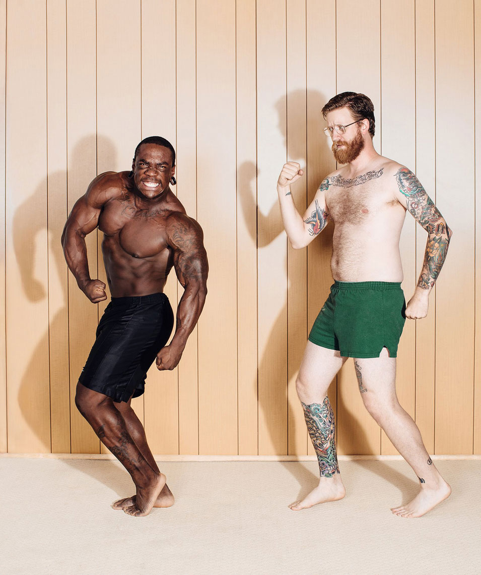 Creative body builder portrait of Dailen Bryce and Josh Huskin. Photographed by conceptual and advertising photographer Josh Huskin.