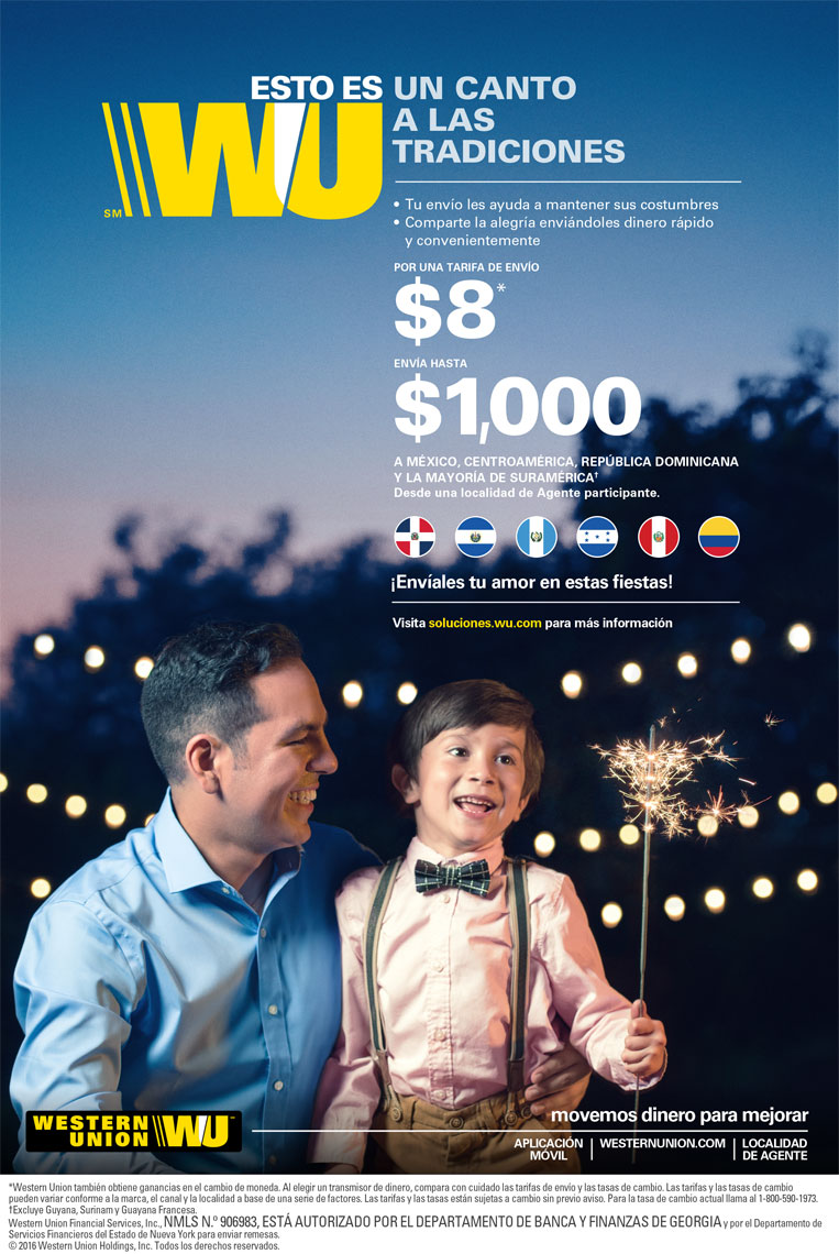 Father and son posing for Western Union Magazine