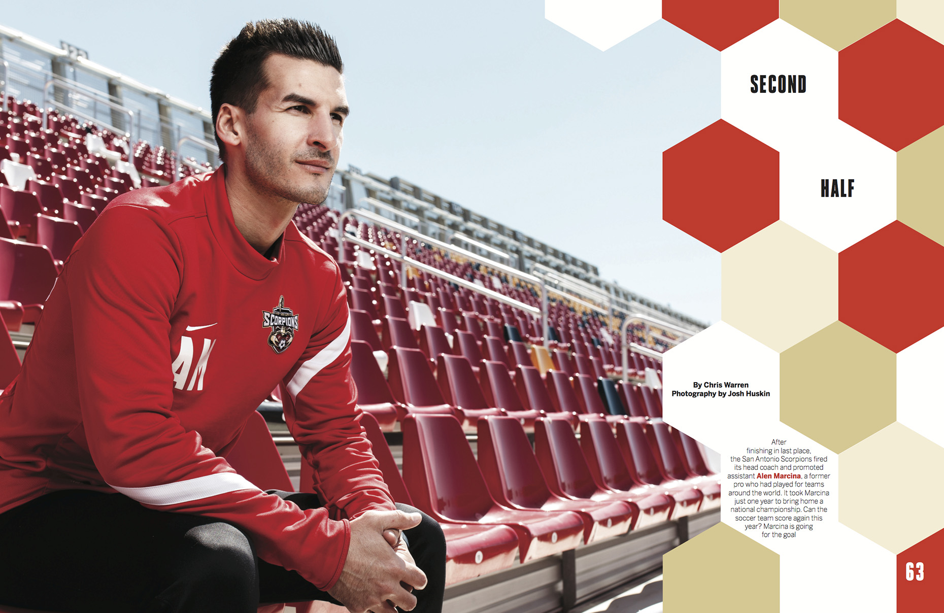 San Antonio Scorpions Coach, Alen Marcina, shot by editorial photographer Josh Huskin in San Antonio, Texas