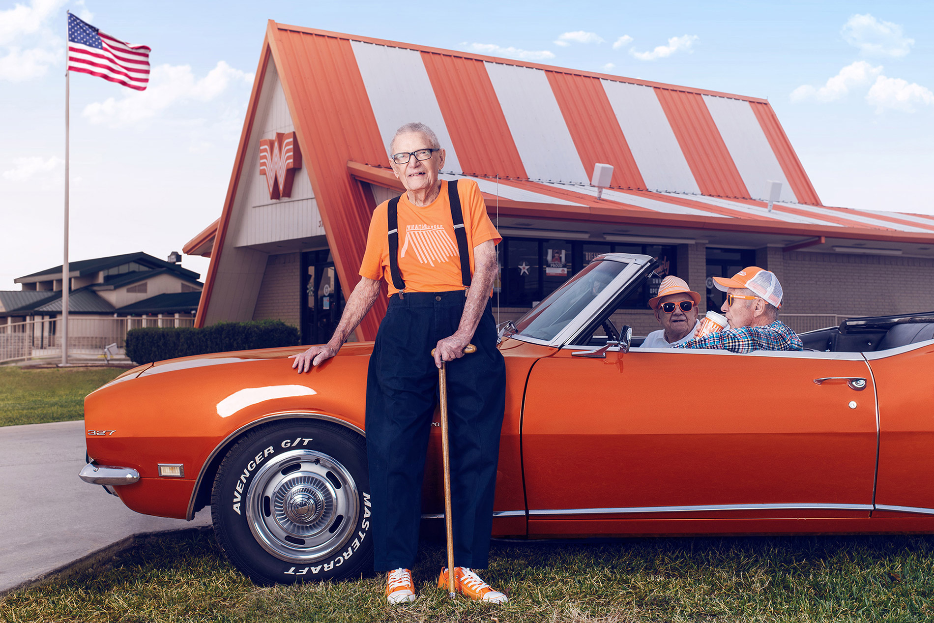Arnold Moede photographed by conceptual advertising and editorial photographer Josh Huskin for Whataburger