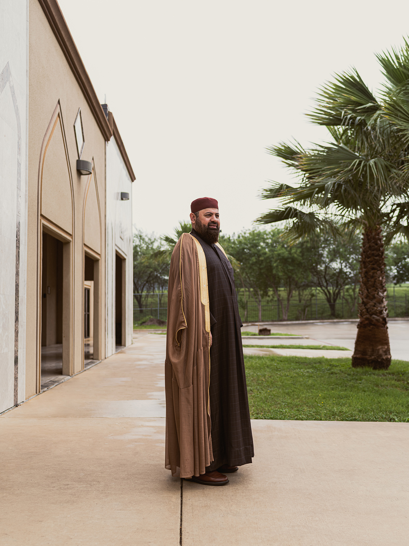 Imam Yusuf Said, Phd,  poses for a portrait outside the Islamic Center of San Antonio on Wed April 22nd, 2020. (Josh Huskin for Texas Monthly)