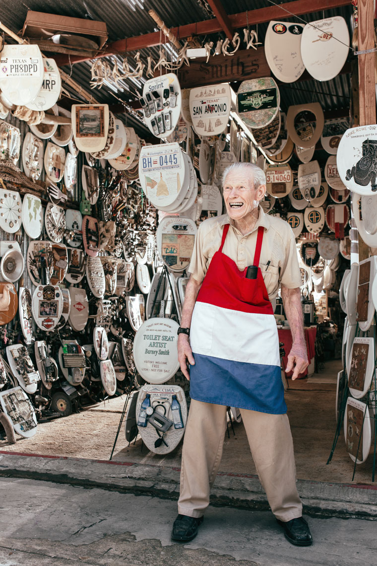 Barney Smith in his Toilet Seat Museum for Texas Monthly, photographed by editorial and commercial photographer Josh Huskin.