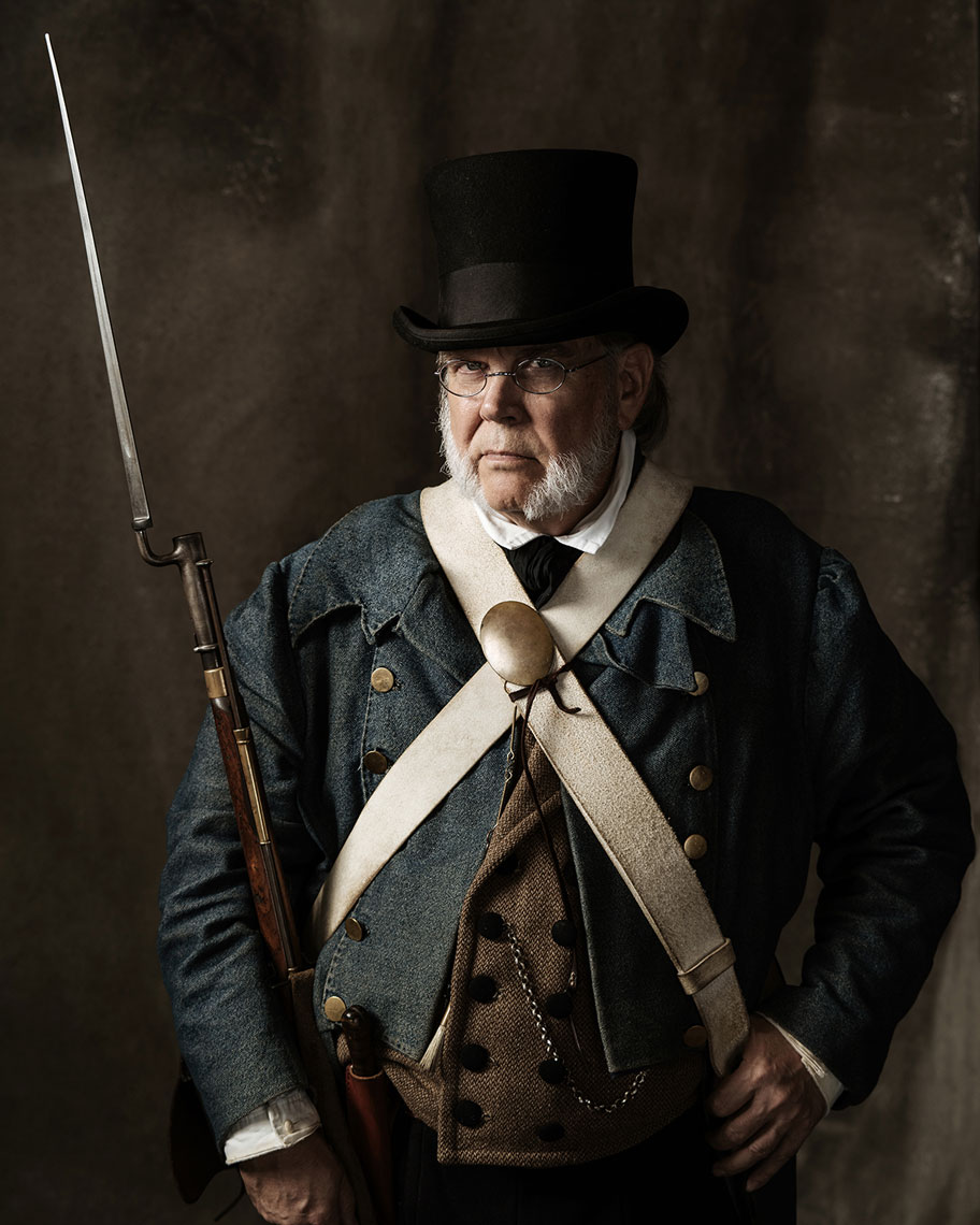 Phil Rogers, an Alamo living history portrayer photographed by advertising photographer Josh Huskin.