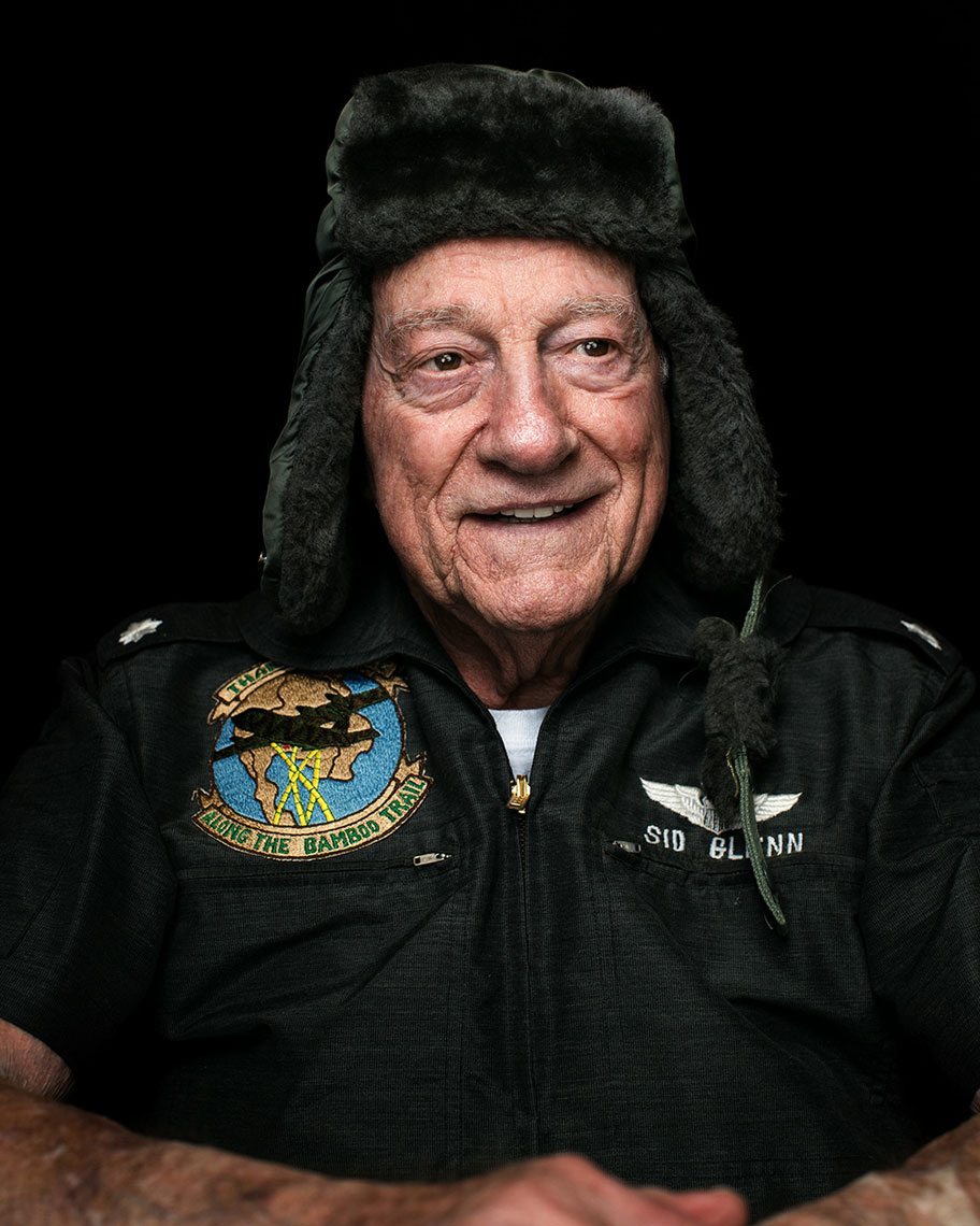 Sid Glenn, an airforce veteran, sits for a portrait in San Antonio, TX for San Antonio Magazine. Photographed by Texas portrait and editorial photographer Josh Huskin.