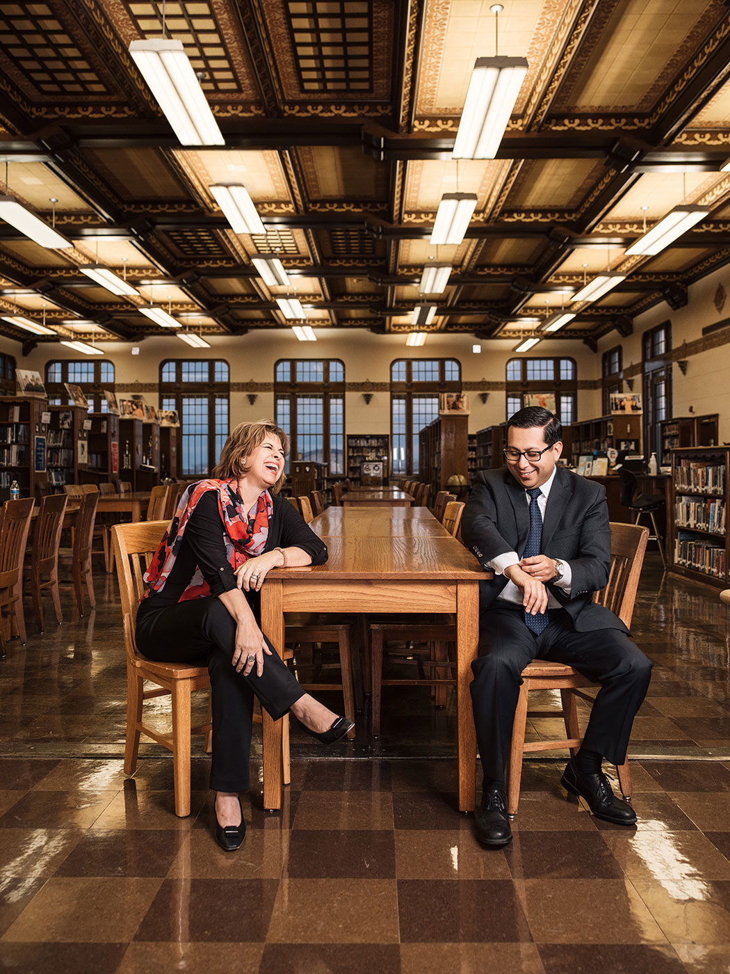 Leticia Van de Putte (left) and Diego Bernal (right) in the library at Thomas Jefferson High School in San Antonio, TX on Feb 26th, 2018. (Josh Huskin for Texas Monthly)