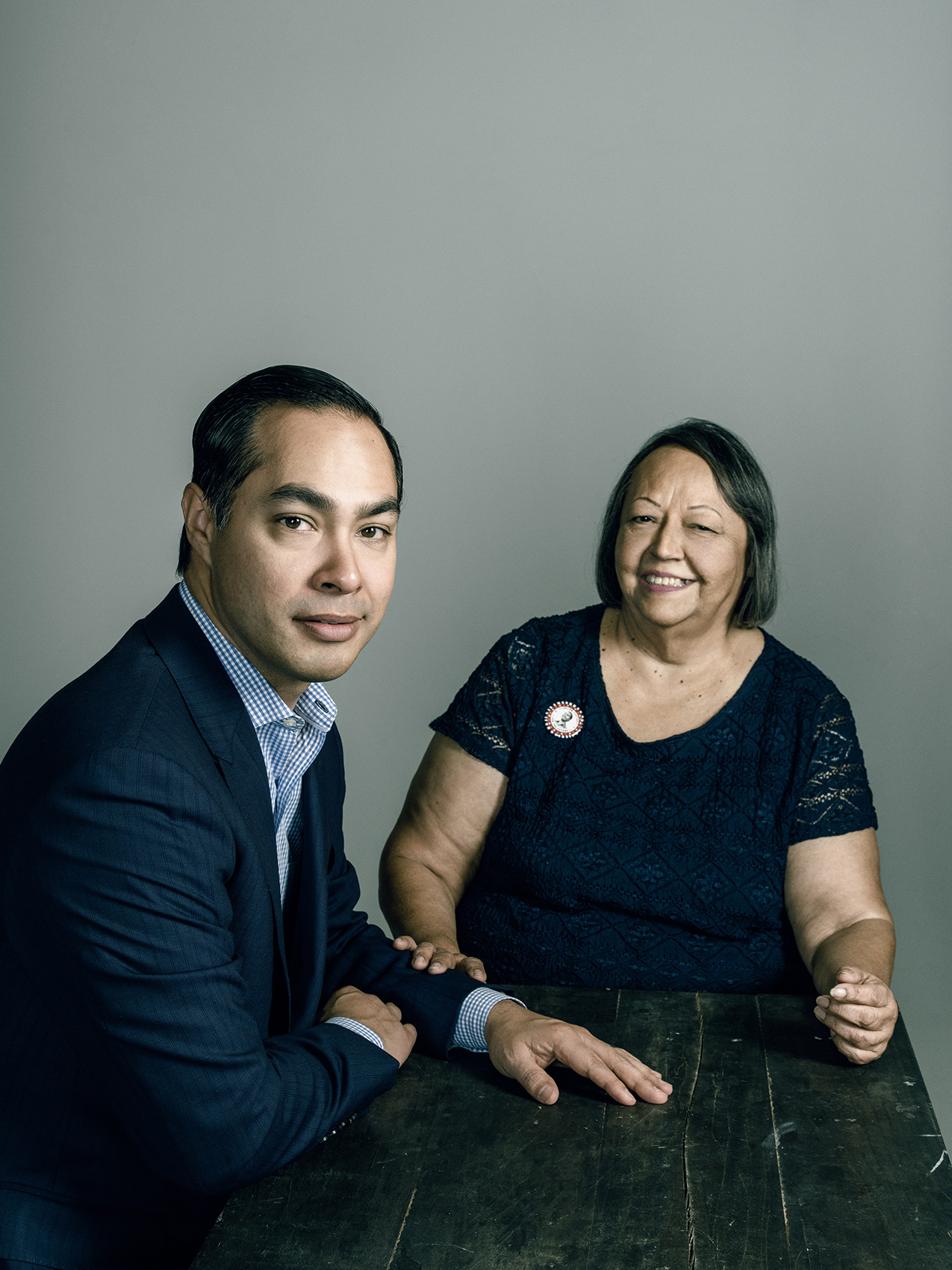 Democratic Presidential Candidate, Julian Castro, with his mother, Rosie Castro in San Antonio, TX.  Photographed by Josh Huskin.