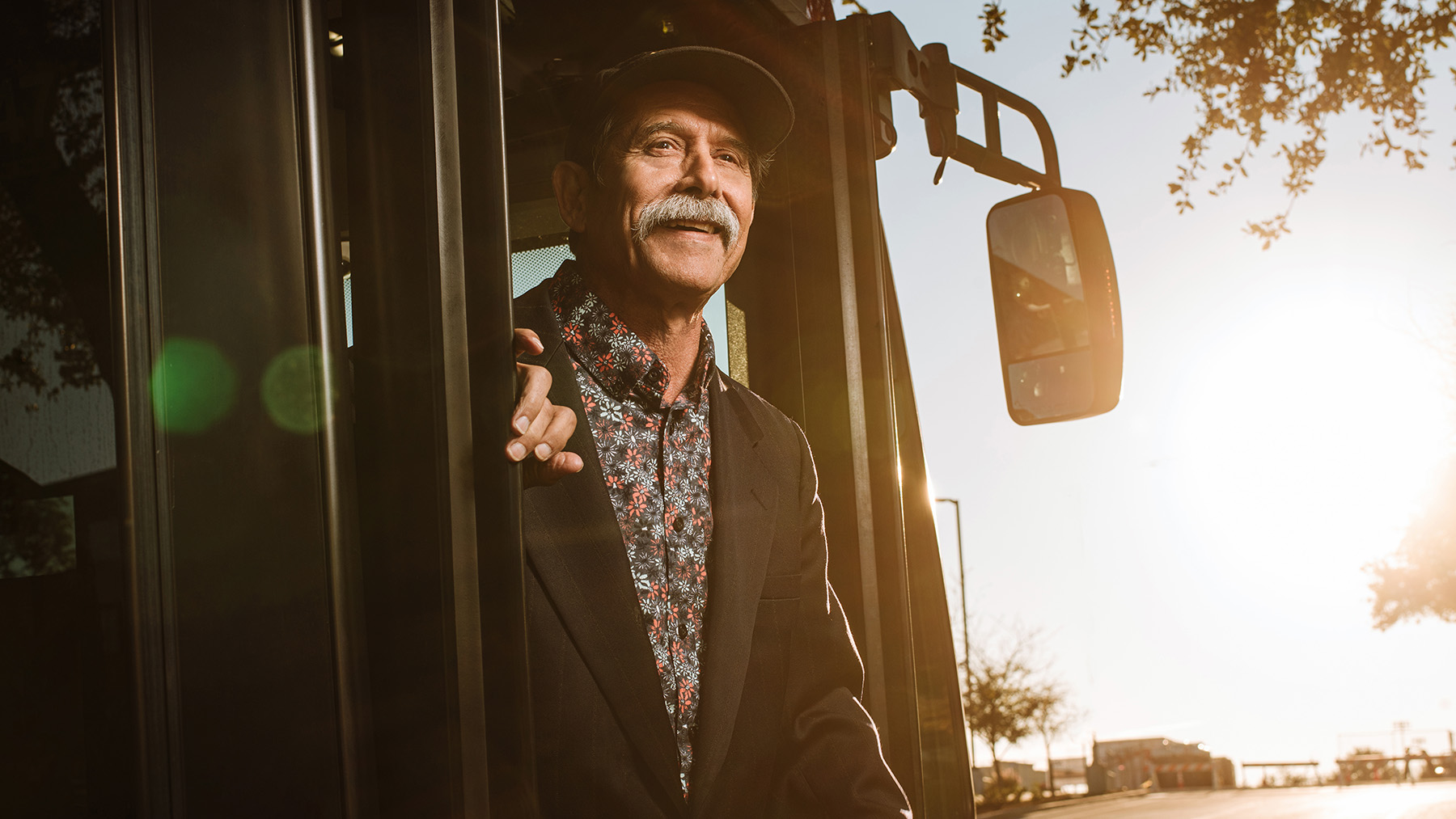 A rider gets off a VIA bus in San Antonio Texas by advertising and commercial photographer, Josh Huskin