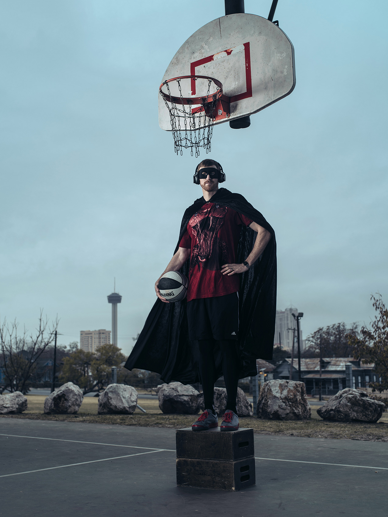 DJ Red Mamba, aka NBA player Matt Bonner photographed in San Antonio by photographer, Josh Huskin.
