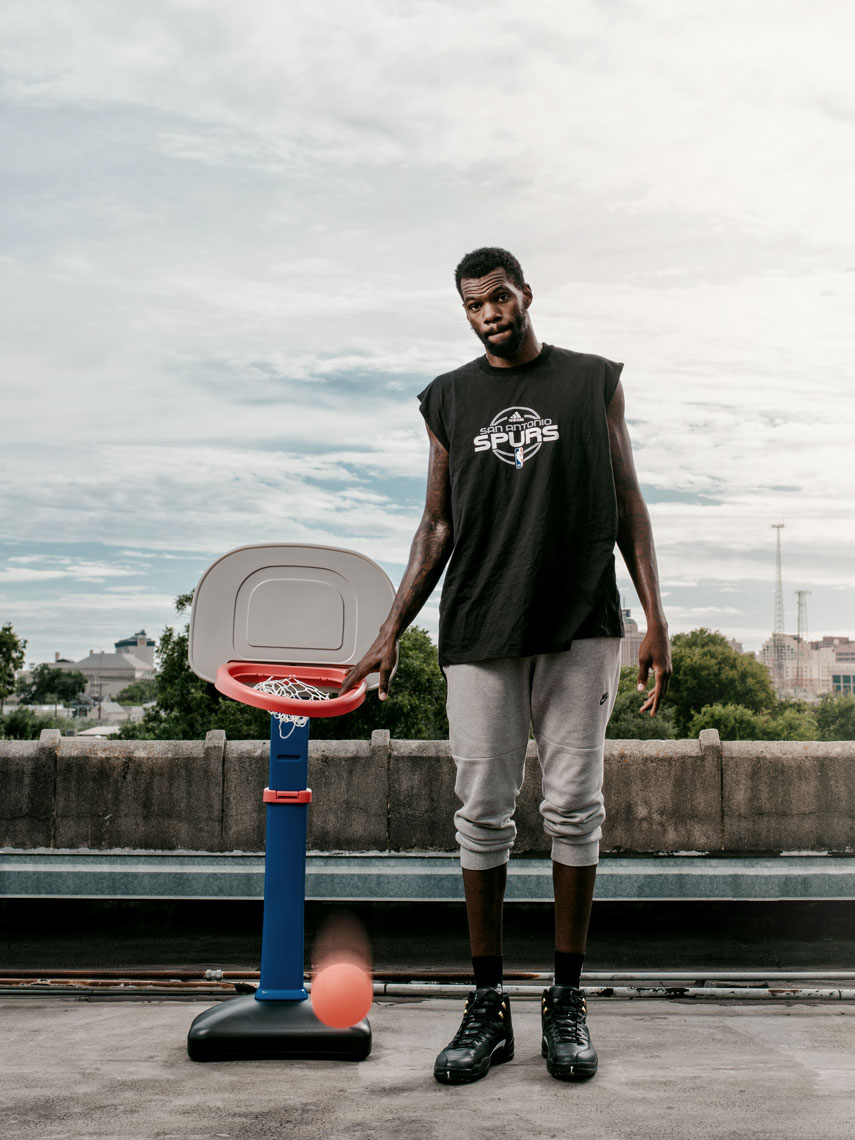Dewayne Dedmon, center for the San Antonio Spurs, photographed in San Antonio Texas, by editorial photographer Josh Huskin.