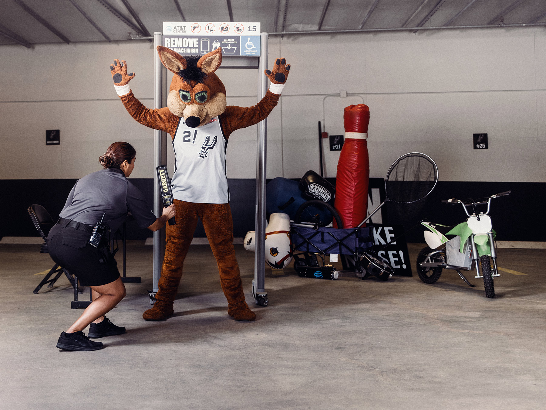 NBA Mascot, Spurs Coyote, photographed at the AT&T Center by sports and editorial photographer, Josh Huskin.