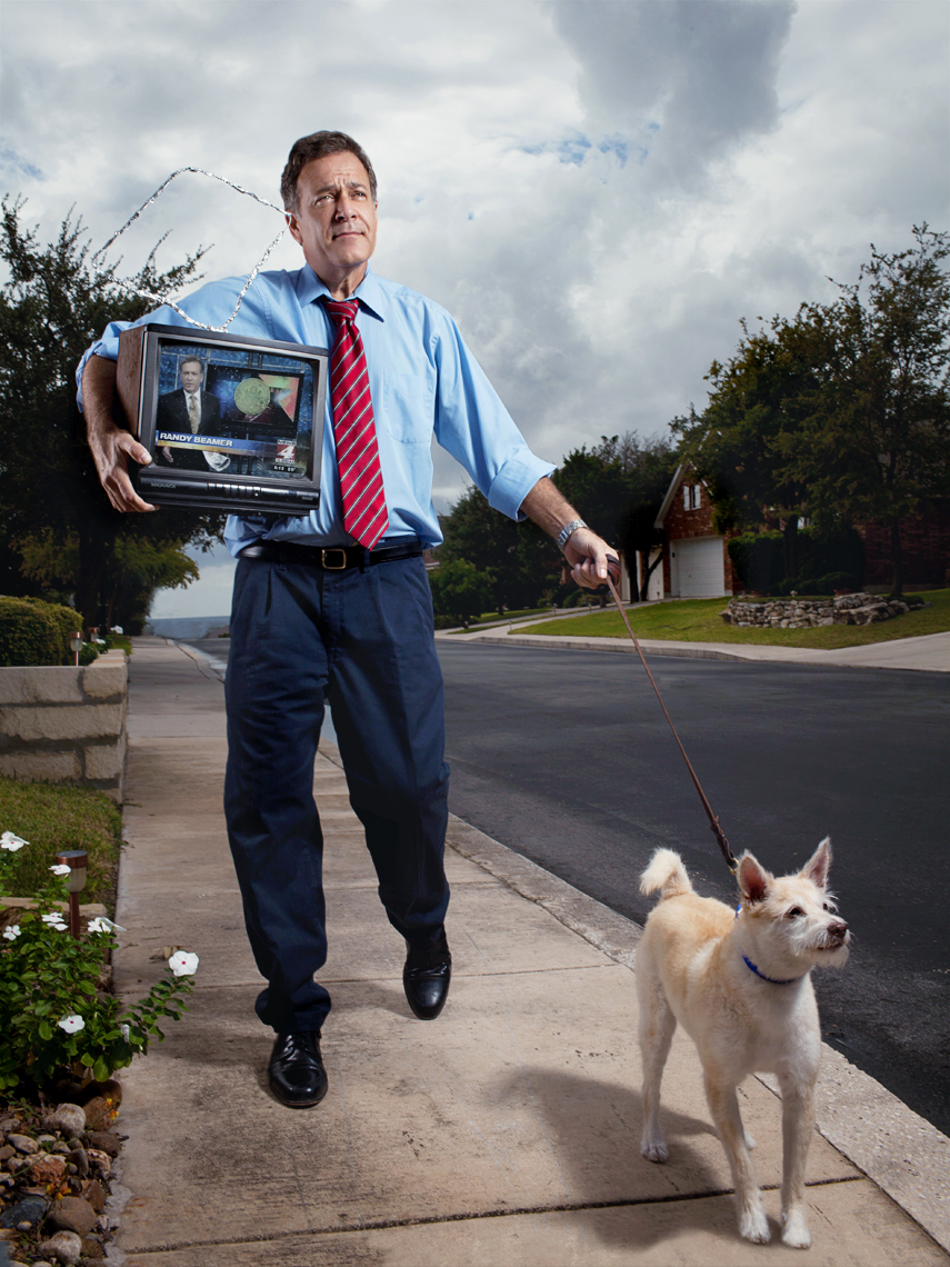 Randy Beamer, a photo-journalist and co-anchor of The Channel 4 News, photographed for San Antonio Magazine, by Celebrity and Editorial Portrait photographer Josh Huskin.