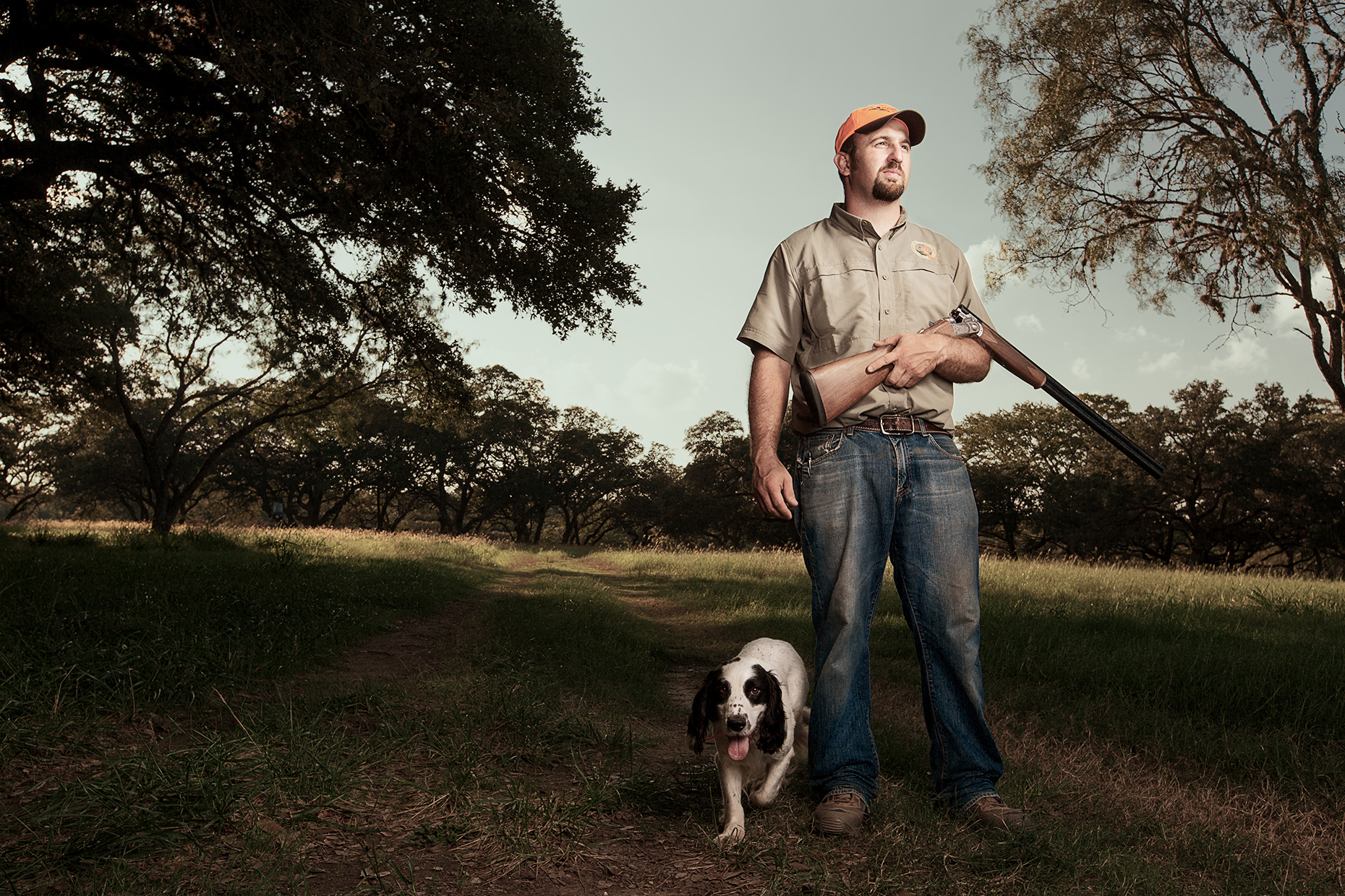 Joseph Zinsmeyer and Tramp at Joshua Creek Ranch for Texas Monthly, shot by Creative Editorial and Commercial Photographer Josh Huskin.